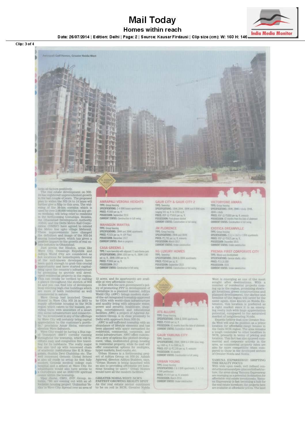 Mr. Amar Sinha, ED, Wave Infratech gets quoted on affordable dream housing in Delhi-NCR at Wave City (Contd2...)