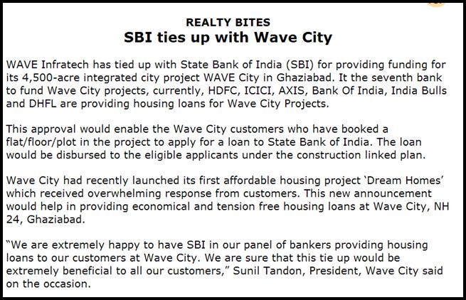 SBI ties up with Wave City