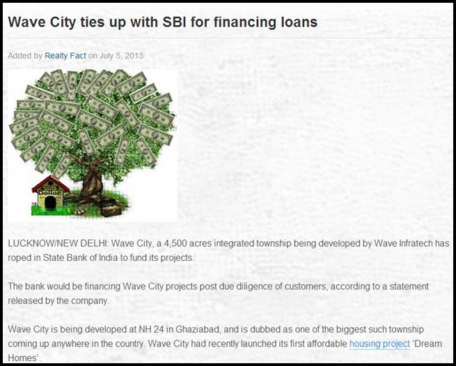 Wave City ties up with SBI for financing loans