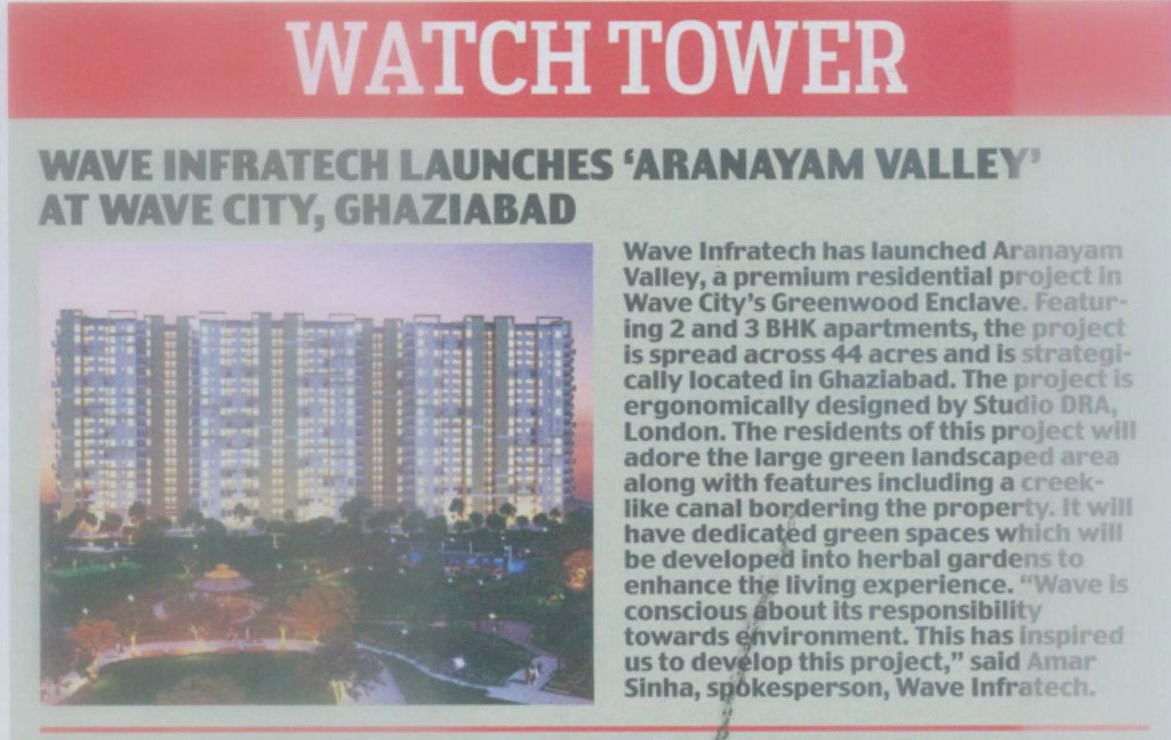 "Wave infratech launches 'Aranayam Valley"" at Wave City, Ghaziabad"