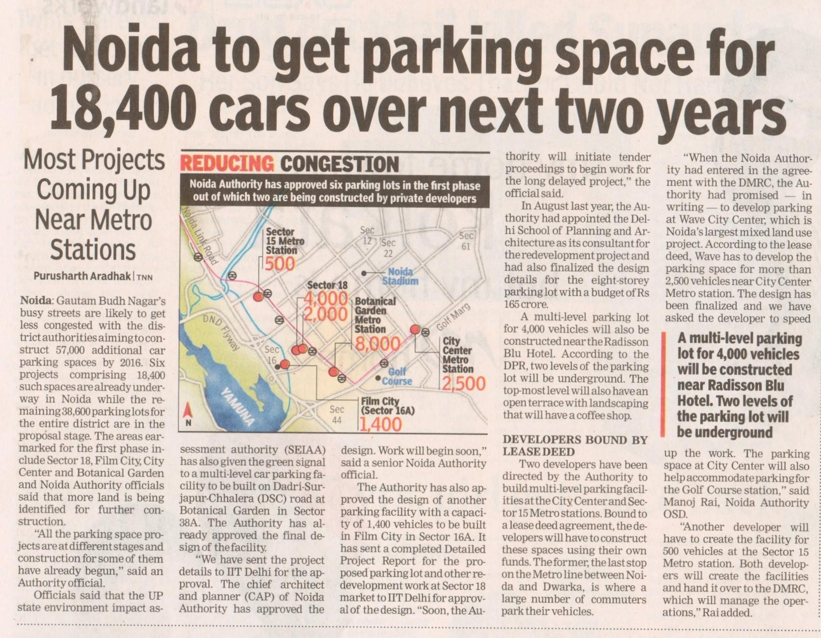 Noida to get parking space for 18,400 cars over next two years