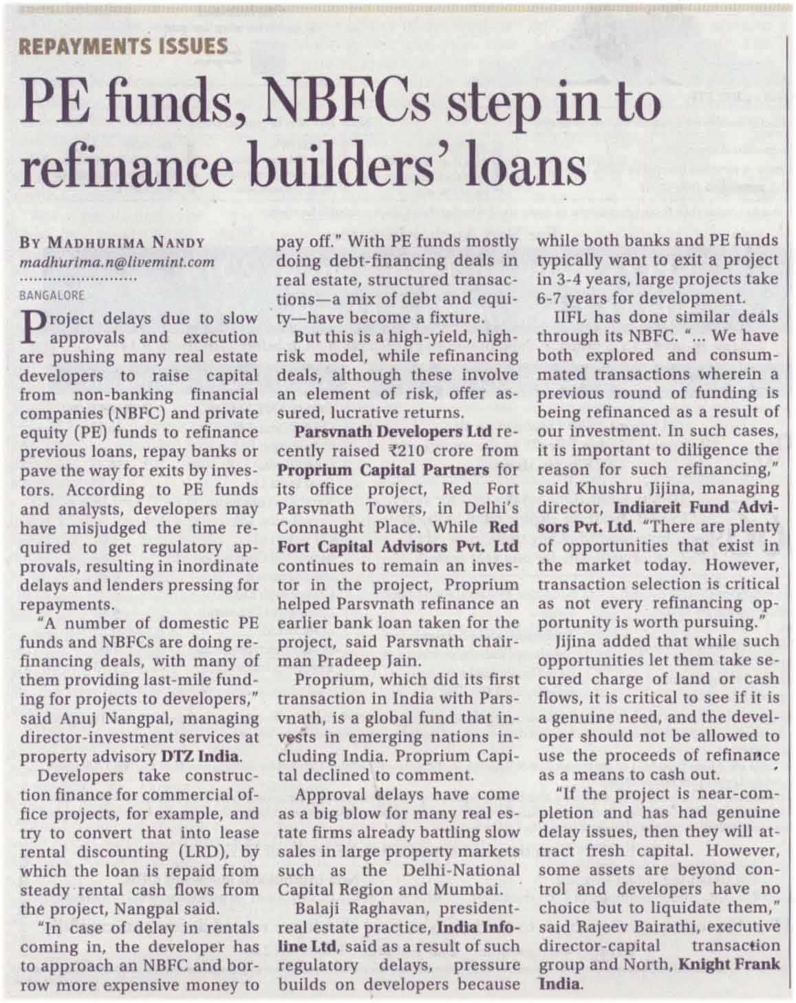 PE funds, NBFCs step in to refinance builders' loans