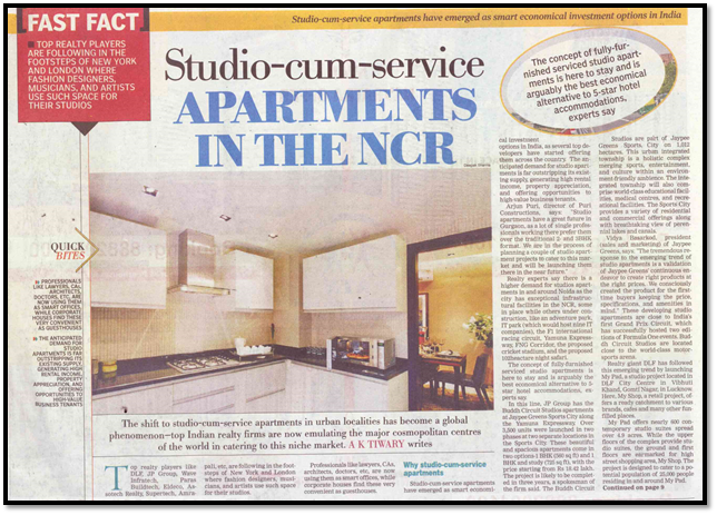 Studio- cum- service apartments in the NCR