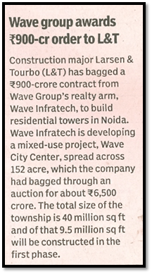 Wave group awards Rs 900 crore to L&T