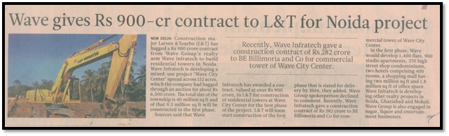 Wave gives Rs 900 crore to L%T for Noida project
