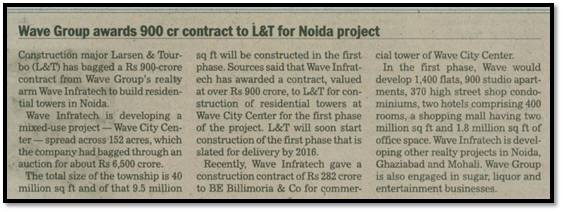 Wave group awards Rs 900 crore contract to L&T for Noida project