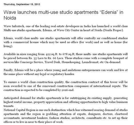 "WAVE multi use studio apartments ""Edenia"" in Noida"