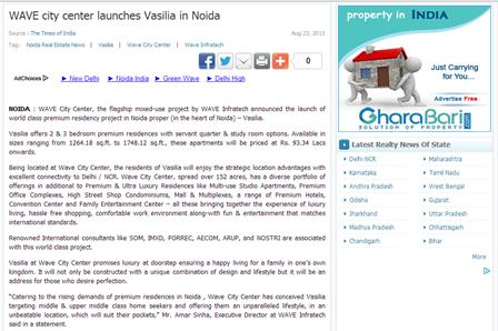 WAVE city center launches Vasilia in Noida
