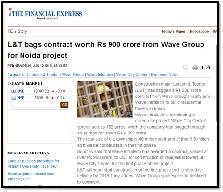L&T bags contract worth Rs 900 crore from Wave Group for Noida project