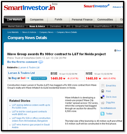 Wave Group awards Rs 900cr contract to L&T for Noida project