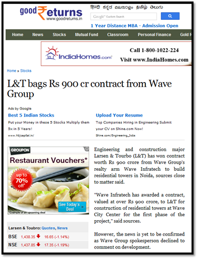 WAVE Infratech unveils project in Noida