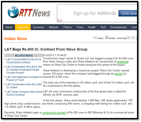 L&T bags Rs 900 crore contract from Wave group