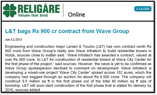 L&T bags Rs 900 cr contract from Wave Group