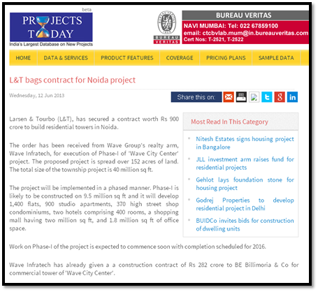 L&T bags contract for Noida project