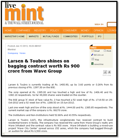 Larsen & Toubro shines on bagging contract worth Rs 900 crore from Wave Group