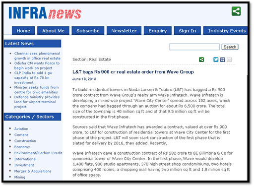 L&T bags Rs 900 cr real estate order from Wave Group