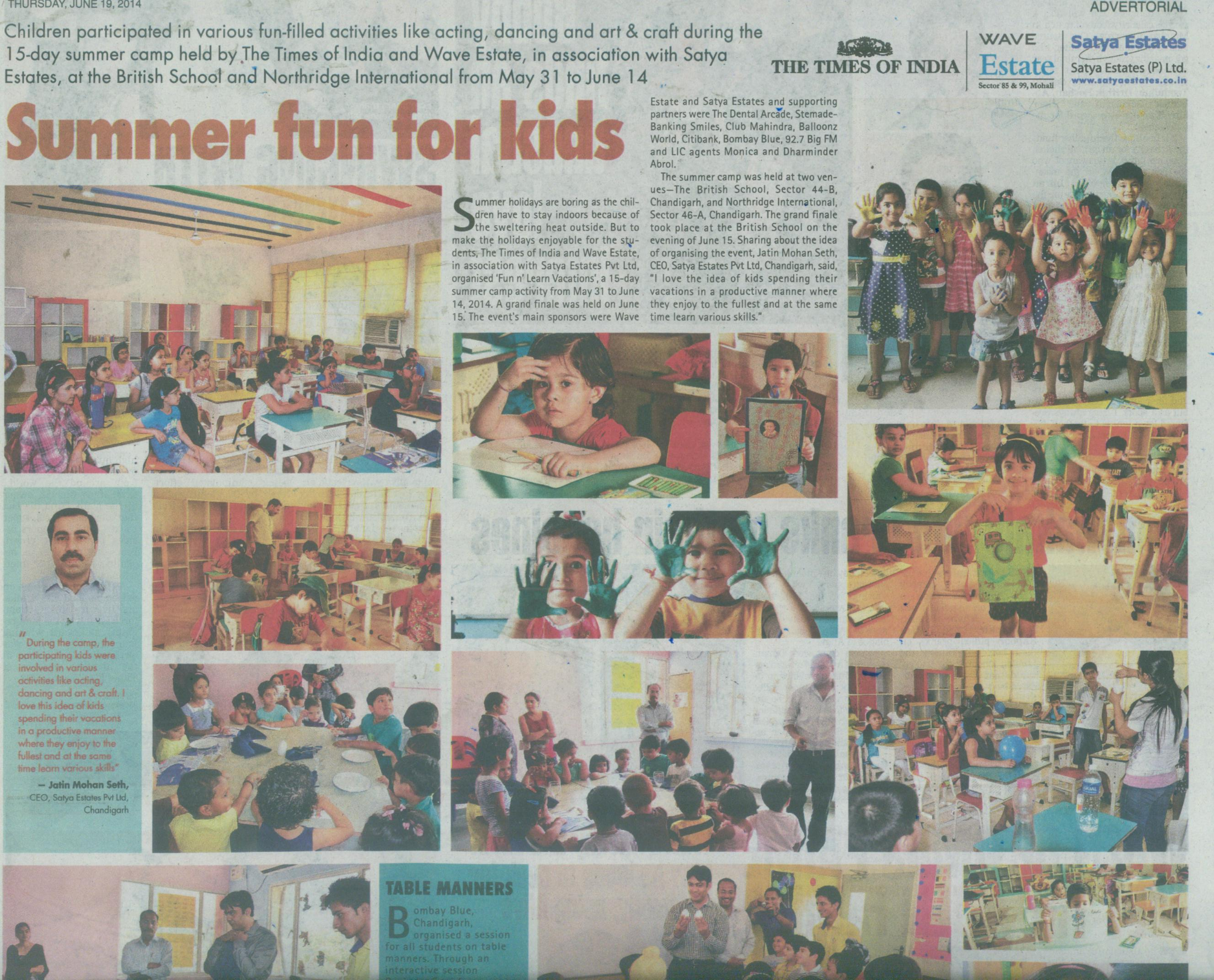 TOI and Wave Estate organized 15 day summer camp at British School.