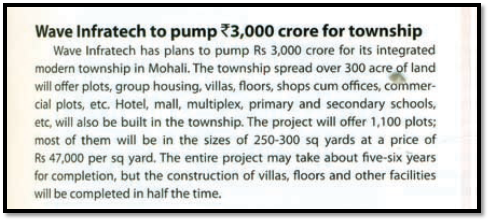 WAVE Infratech to pump Rs. 3000 crore for township