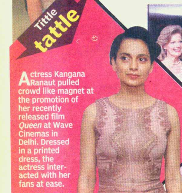 Actress Kangana pulled crowd like magnet at the promotion of her recently released film Queen at Wave Cinemas in Delhi