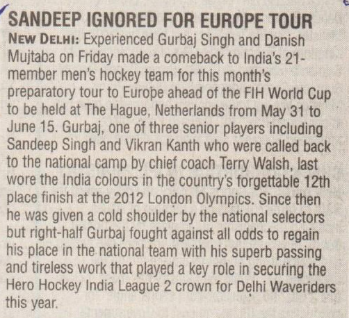 SANDEEP IGNORED FOR EUROPE TOUR