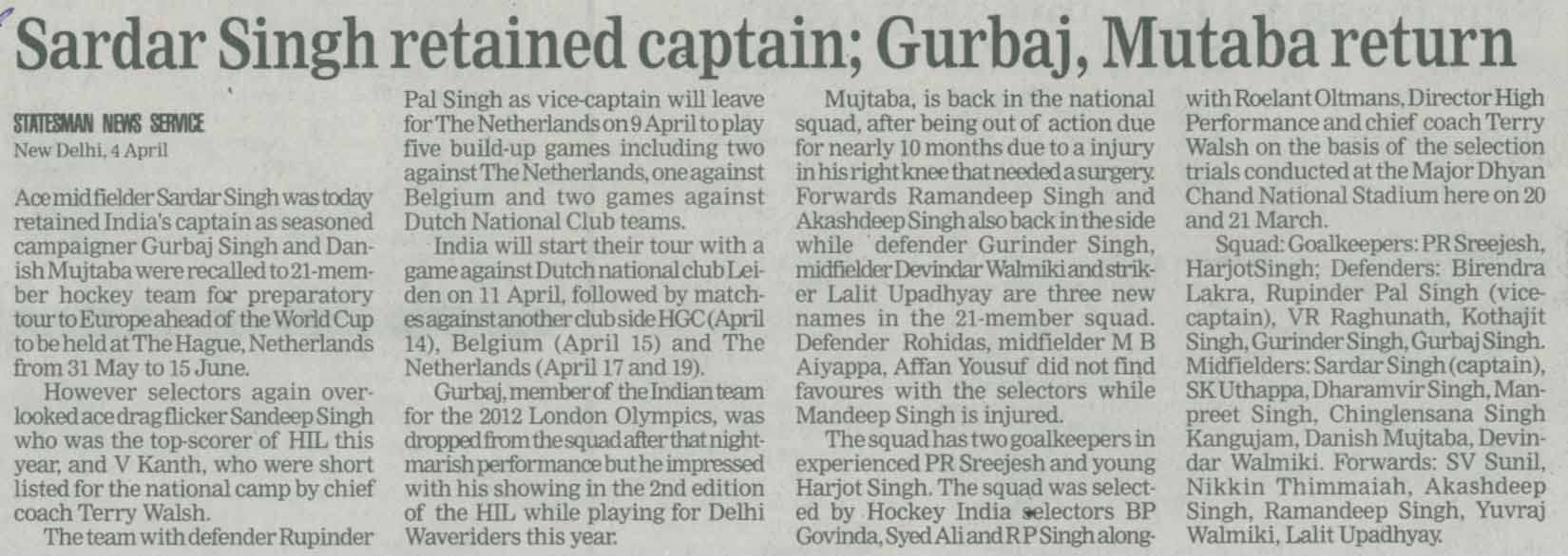 Sardar Singh retained captain; Gurbaj, Mutaba return