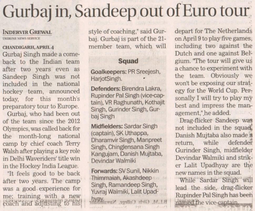 Gurbaj in, Sandeep out of Euro tour
