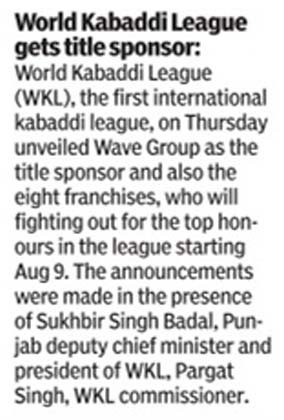 Wave Group unveiled as the title sponsor of the first international kabaddi league.