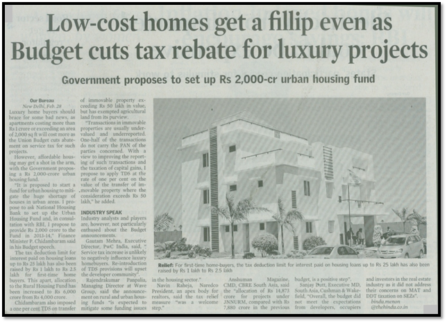 Low-cost homes get a fillip even as budget cuts tax rebate for luxury projects.