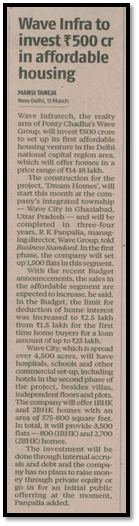 Wave Infratech to invest Rs500 cr in affordable housing