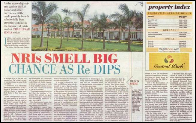 NRIs SMELL BIG CHANCE AS Re DIPS
