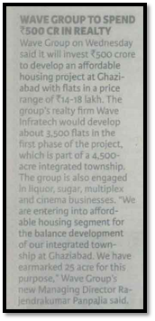 Wave group to spend Rs500 cr in realty