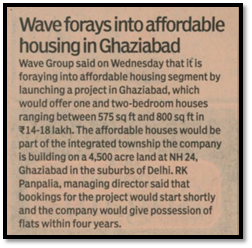 Wave forays into affordable housing in Ghaziabad