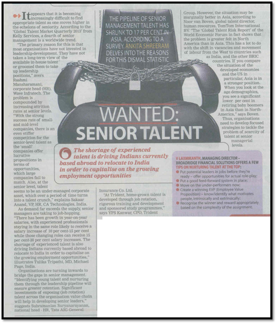 Wanted: Senior Talent