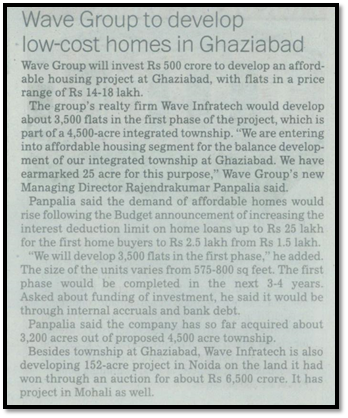 Wave group to develop low cost homes in Ghaziabad