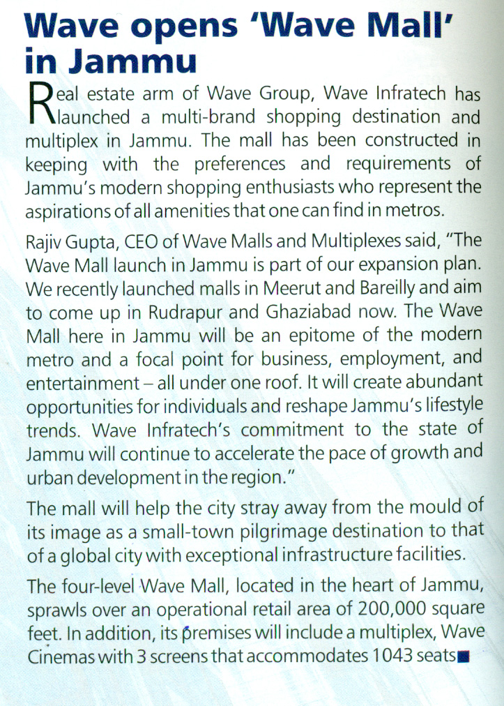 Launch of Wave Mall in Jammu in Realty n More Magazine